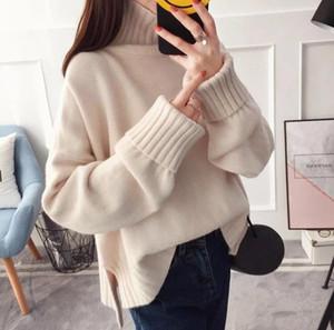 Осень зима женские повседневные вязаные свитер высокой шеи расколоть свободные пуловеры сплошной цвет мода женская одежда