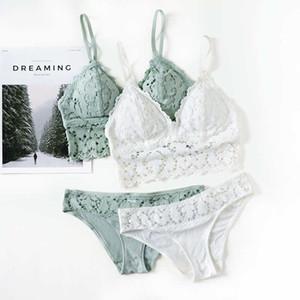 2020 Sexy Women Lace Underwear Set Padded Bra Brassiere See Through Women's Underwear Ladies Suit Underwears