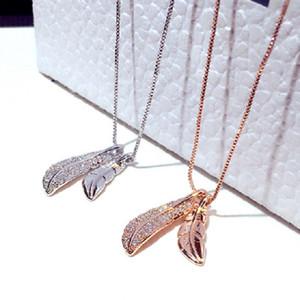 Sparkle on diamond zircon fashion designer lovely leaves short choker pendant necklace for women girls rose gold silver