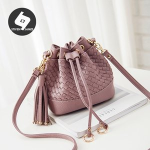 STIVEN JAMES Weave Bucket Bag Drawstring Hand Bags for Women Woven Waist Bag Small Shoulder Purse Crossbody Ladies Handbags 201204
