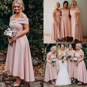Cheap Simple Sexy Blush Pink A Line Bridesmaid Dresses Off Shoulder Hi-lo Plus Size Maid of Honor Gowns robes de demoiselle d'honneur