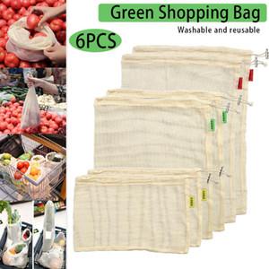 6Pcs set Reusable Mesh Produce Bags Non Plastic Cotton Vegetable Bags Washable See-through Drawstring For Shopping FP
