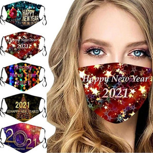 US Stock 2021 Christmas New Year Party Face Masks Custom Made Masque Christmas Decorations Adult Kid Face Masks Cotton Dustproof Reusable