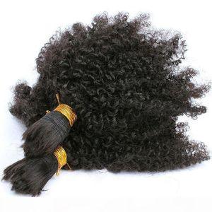 Afro Kinky Curly Hair Bulk For Braiding 10A Brazilian Human Hair 3 Pcs lot Hair Bulk For African American