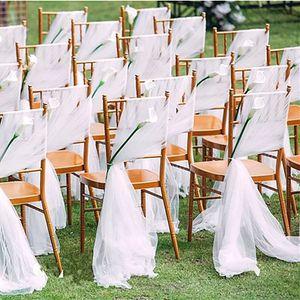 Romantic Garden Wedding Chair Cover Back Sashes Banquet Decor Christmas Birthday Formal Wedding Chair Sashes EEA2190