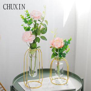 Wedding golden iron frame glass vase artificial flower hydroponic container plants vase decoration accessories flower home decor