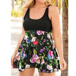 Womens Plus Size Floral Print Swimwear Two Pieces Swimsuits Solid Monokini Swim-dress Removable Padded Bathing Suit Beachwear XL1