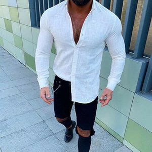 Men's Linen Long Sleeve Shirt Summer Cool Loose Casual V-Neck Shirts Muscle Tee Tops White Black Yellow Orange M-3XL