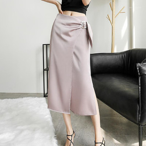 Chohill-Ifashion Store Summer Summer Ladies Silk Skirt Gonna a fiocco Gonna pieghettata Gonna a pieghe Solid Color Gonne da donna Lunghe Gonne1
