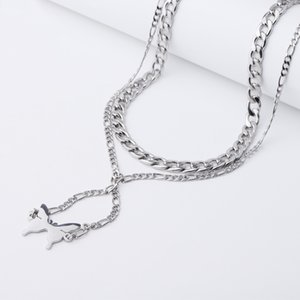 Fnixtar 10Pcs 55+55cm Butterfly Pendant Necklace Mirror Polish Stainless Steel Sweater Necklace For Women's Christmas Gifts Y1130