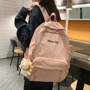 New Girl Cute Backpack Waterproof Solid Color Women Shoulder Bags Kawaii Student Schoolbag Multi-pocket Female Travel Backpacks Q1129