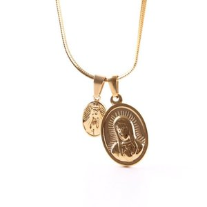 Stainless Steel Golden Maria Pendant Necklace Hip Hop Metal Women Men Jewelry Vintage Style Drop Shipping