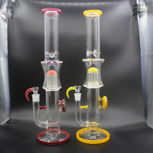 Green Purple Glass Bongs Double Recycler Bong Propeller Spinning