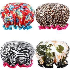Shower Cap for Girls Women Adult Waterproof Double Layer Design Bathe Caps Wholesale Cheap Shower Hair Cover Cap Bathroom Accessories