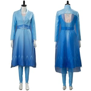 In the Stock Snow Queen Grow Cosplay Girl Princess Dress Costume Women Long Blue Dress Outfit Suit Halloween Costume Gift