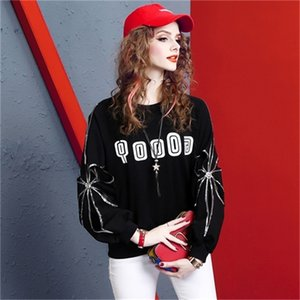 Autumn 2020 new fashion brand hoodless sweater women's Embroidery heavy work nail bead super fire crew neck loose fitting clothes ins