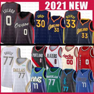 Luka 77 Damand Doncic Lillard Stephen James Curry Wiseman Basketball Jersey DallasMavericks Portland.WegKriegerBlazer