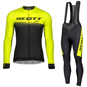 Yüksek Kalite Scott Takımı Bisiklet Jersey Önlüğü Pantolon Takım Elbise Erkekler Uzun Kollu MTB Bisiklet Kıyafetler Yol Bisikleti Giyim Spor S21012881