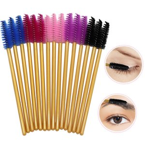 2000Pcs Disposable Golden Handle Mascara Wands Applicator Eyelashes Brushes Eyelash Extension Nylon Makeup