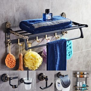 Bathroom Accessories Aliuminum Black Gold Finish Towel Ring Robe Hook Toilet Brush Holder Towel Bar Store Basket Paper Holder