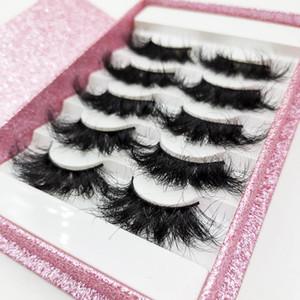 5 pairs lash books wholesale mink lashes 25mm fluffy messy 3d bulk pink glitter box supply dropshipping wholesale bulk