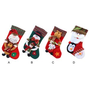 Lovely Christmas Stocking Santa Claus Decoration Sock Christmas Tree Hanging Ornaments Festival Party Home Hanging Supplies #