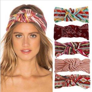 Scrunchies Bohemia Дизайнер завязанный оголовье Женщины Полосатый печати Группа волос Luxury Йога Hairband Head Wrap Эластичная тюрбаны EWC3682
