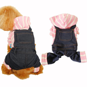 Black Denim Dog Jumpsuit Pink White Stripe Puppy Cat Hoodie Jean Coat Four Legged Pet Clothes for Small Medium Large Dogs Teddy