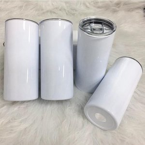Sublimation Skinny Tumbler 15oz Tall Slim Straight Tumblers White Blank Vacuum Insulated Water Cup For Heat Transfer