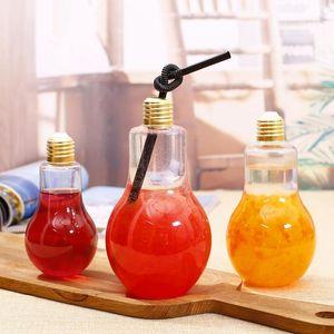 LED Ampul Su Şişesi Plastik Süt Suyu Su Şişesi Tek Kullanımlık Sızdırmaz İçecek Kupası Kapaklı Yaratıcı Drinkware Toptan VT0435