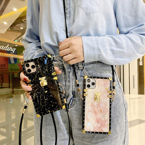 Luxury Crossbody Square Plating Marble Back Case Shockproof for iPhone 12 11 Pro Max XR XS 6s 8 Plus Samsung S20 Note20 Ultra