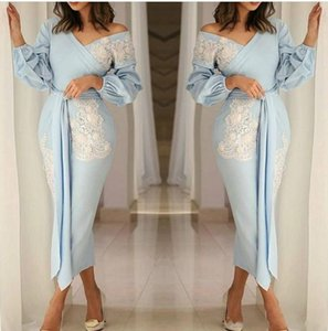 Elegant V Neck Long Sleeve Sheath Short Evening Dresses 2019 Lace Applique Ruched Tea Length Party Prom Dresses
