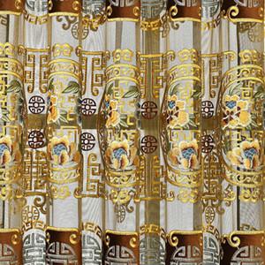 European Royal Golden Color Velvet Curtains For Living Room Bedroom Luxury Embroidered Tulle Window Drapes for Dinner Room