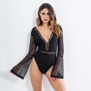 Female Sexy Deep V Neck Backless Slim Rompers Lace Patchwork Bodysuit Women Long Sleeve Summer Beach Hot Bodysuits