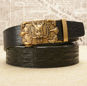 New crocodile pattern men's real cowhide belt personality leading retro dragon claw automatic buckle men's cowhide belt fashion men's busine
