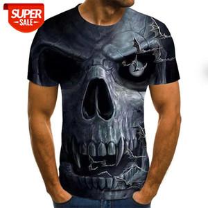 Skull head European and American style fashion short sleeve men's T-shirt 3D digital printing short sleeve #N50N