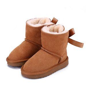 Натуральная кожа Австралия Девушки для девочек Мальчики Лодыжки Зимние ботинки для детей Детская обувь Теплый лыжный малыш ботинок для детской моды WGG новая розетка