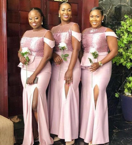 2021 New African Mermaid Bridesmaid Dresses For Weddings Off Shoulder Crystal Beads Side Split Floor Length Satin Formal Maid of Honor Gowns