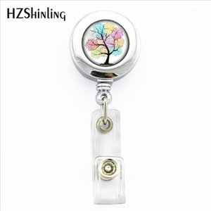 2020 New Flower of Tree Badge Holder Colors Life Tree ID Card Holder With Clip Life Photo Office Badge Reel1