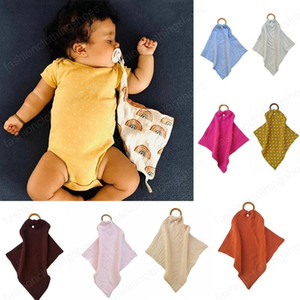 Baby Sleeping Appease Blanket infant Toddler Toys cotton Appease towel newborn baby Wood circle blanket 18 colors Burp Cloths Bibs