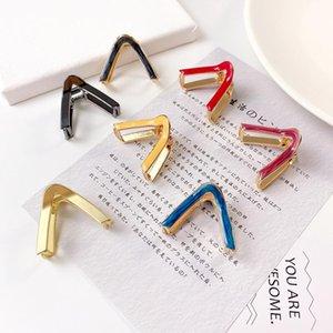 Fashion Women V Shape Enamel Metal Hair Chic Geometric Hair Clips Simple Holder Elegant Hairpin Accessories