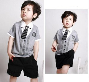 Clearance sale Boys gentleman necktie fake 2piece short sleeve top+short pant boys summer clothes wear boys outfit Z139