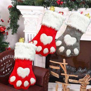 Socks Party Bag Stocking Candy Christmas Tree Ornament Hanging Gift Paw Xmas Socks Kids Plush Hosiery Decor HWB3289 Etjpe