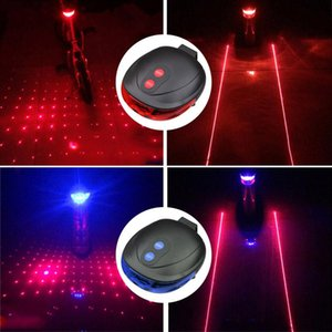 5LED+2Laser Mountain Road Bike Bicycle Light Laser Tail Light Cycling Safety Warning Rear Lamp 7 Model Caution -- YS-BUY