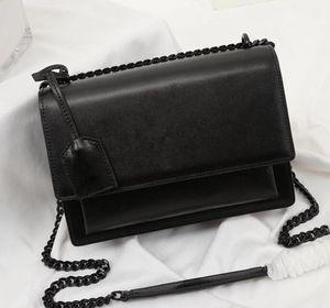 Yüksek kaliteli flep çantası lüks tasarımcı çanta SUNSET orijinal deri kadın omuz çantaları moda orta crossbody torba toz torbası hediye kutusu