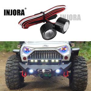 Injora 22mm Multifunktions RC Autoscheinwerfer LED-Leuchten mit Controller-Platine für 1/10 Axial SCX10 90046 RC Rock Crawler 201105
