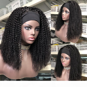 Kinky Curly Headband Glueless Wig Human Hair Wigs Remy Brazilian Full Machine Made Wig For Women