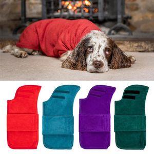 Accesorios de baño Absorbente de agua con pegatina mágica Abrigo Secado rápido Soft para la limpieza de cachorros Plaza de baño de bata de baño de perro