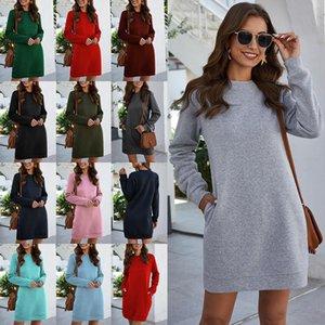 New Fashion Autunno Inverno Donne Delle Donne Vestito Solido Colore Manica Lunga Le tasche Allentati Mini Dress Leades Dimensione S-2XL
