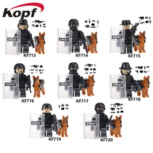 The latest KF6067 military police department assembled building blocks minifigures educational toys in bags for wholesale foreign trade